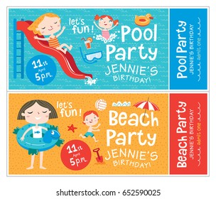 Beach and pool party. Birthday invitations. Beach and pool party. Vector isolated illustrations.