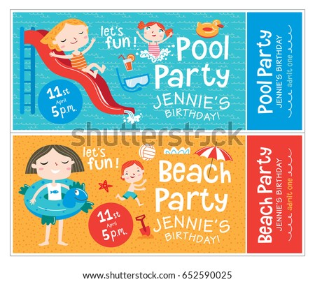 beach pool party birthday invitations beach stock vector royalty