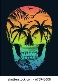 Beach print with skull illustration, for t-shirt and other uses
