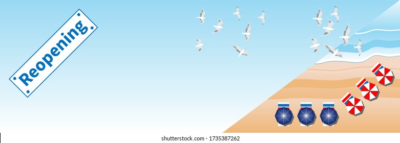 Beach Reopening Banner. Summer beach, sea and beach items. Seagulls fly in blue sky over sea waves. Reopening - text on plate. After coronavirus COVID-19 lockdown. Vector illustration EPS10. Copyspace