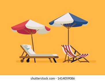 Beach resort flat design decorative lounge and deck chairs with parasols on yellow background. Ideal for summer seaside vacation graphic, motion and web design