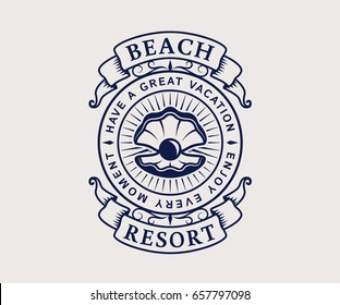 Beach resort logo with seashell. Elegant vintage emblem isolated on white background. Vector template.