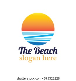 Beach resort and summer theme logo design template