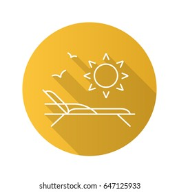 Beach rest flat linear long shadow icon. Beach chair with birds and rising sun. Vector outline symbol
