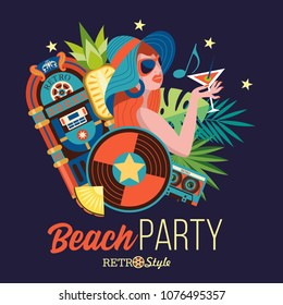 Beach retro party. Illustration in retro style. Beautiful girl in a hat drinking a cocktail on the background of palm trees. Around the girl jukebox, vinyl record, cassette. Retro music accessories.