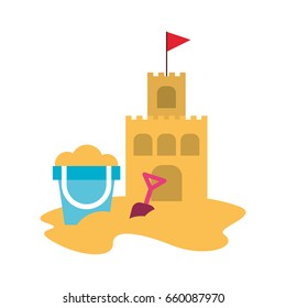 beach sandcastle with sand bucket