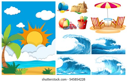 Beach scene with big waves and equipments illustration