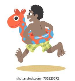 beach scene cartoon illustration of a boy running toward the ocean with an inflatable toy
