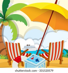 Beach scene with chairs and umbrella illustration