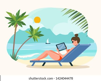 Beach scene. Happy girl sitting on the sunbed with tablet. Vector flat illustration