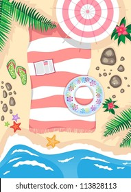 beach scene. owner apparently went to swim, and left things. vector illustration