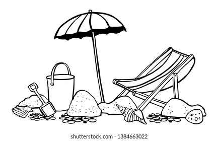 Beach scene. Parasol with lounger on the sand. Vector outline cartoon hand drawn illustration black on white background