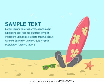Beach scene with sea shore and ocean landscape and surfing board with beach accessories.