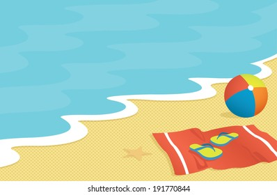Beach Scene with Towel, Flip-Flops, and Beach Ball