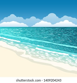 Beach scenery. Summer background. Azure sea. White sand. Blue sky. Clouds on horizon line. Paradise island. Natural outdoor scene. Empty ocean shore. Travel vector illustration. Vacation clip art.