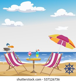 beach, sea, sky, beach umbrella, table, cocktails
