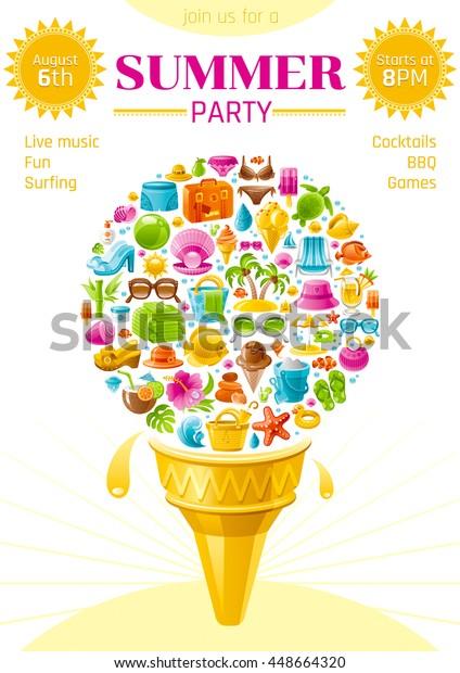 Beach Sea Summer Party Invitation Card Stock Vector Royalty