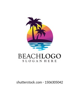 Beach, Sea, Sunset, logo design Vector illustration