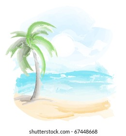 Beach and sea, watercolor vector.
