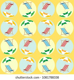 Beach seamless pattern for summer holiday. Vector background. Summer time pop art geometric pattern. Umbrella and deckchair on the beach.