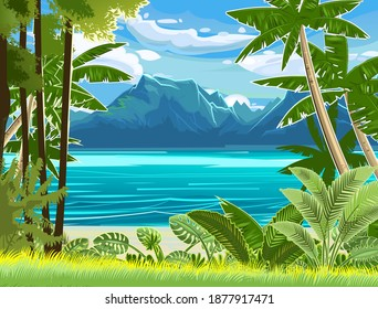 Beach. Seaside landscape. Tropical trees by the sea, ocean. Mountains in the distance on the horizon. Grass and thickets in the sand. Illustration. Vector