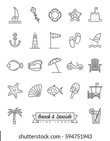 Beach and seaside vector line icon set. Collection of 22 resort vacation symbols