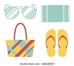 Beach set, bag, flip flops, glasses and a towel. vector illustration