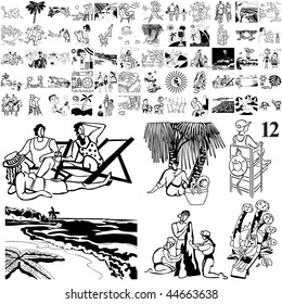 Beach set of black sketch. Part 102-12. Isolated groups and layers.