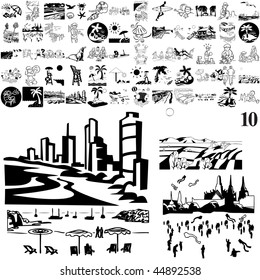 Beach set of black sketch. Part 103-10. Isolated groups and layers.
