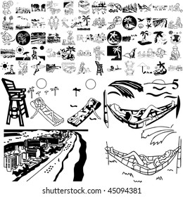 Beach set of black sketch. Part 103-15. Isolated groups and layers.