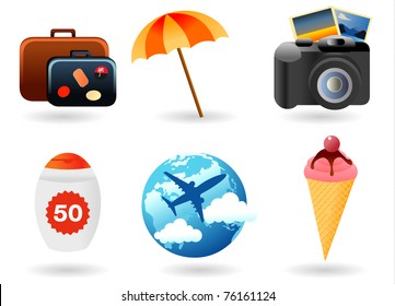 Beach Set From Camera, Ice Cream, Baggage, Airplane, Parasol And Sun Lotion