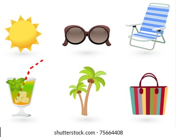 Beach Set From Chair, Sunglasses, Bag, Palm, Cocktail And Sun