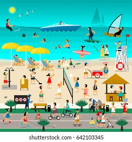 Beach set with infographic elements. Vector flat illustration.