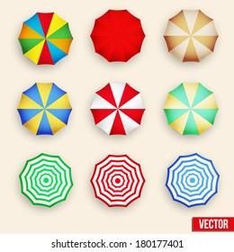 Beach set symbols of sun umbrellas. Summer sunny parasol. All inclusive vacations. Travel agency design elements.