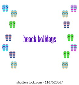 Beach shoes beach holiday vector background