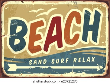 Beach sign vector retro background. Vintage signboard with creative typo. Vacation and travel theme.