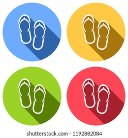 f0a00237b02 Beach slippers. Flip flops icon. Set of white icons with long shadow on blue