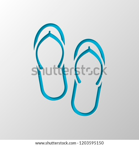 fc65962f2f79ee Beach slippers. Flip flops icon. Paper design. Cutted symbol with shadow -  Vector