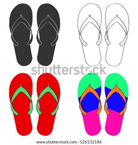 28a64137f8ce65 Beach Slippers Beach Slippers Icon Flip Stock Vector (Royalty Free ...