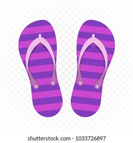 Beach Slippers isolated on white background. Modern flip flops in flat style. Summer or holiday time concept. Vector illustration. EPS 10.