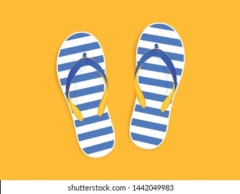 Beach slippers sandals on yellow background