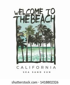 beach slogan with palms tree and beach illustration