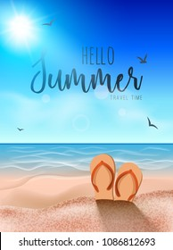 Beach summer background, Sunny sand tropical travel party coast background with slippers on sand.