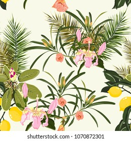 Beach  summer Hawaiian seamless pattern wallpaper of tropical green leaves of palm trees and lemons, pink exotic flowers of paradise on a light yellow background.