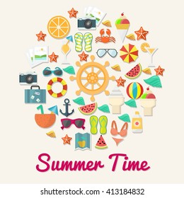 Beach and summer icon/ object. Summer time poster design template