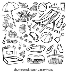 Beach summer objects vector outline hand drawn illustration set black on white background