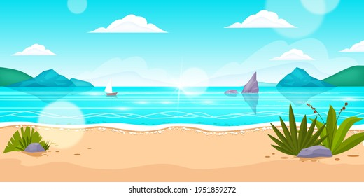 Beach summer sea vector landscape, ocean background, rocks, boat, sand, tropical island, plants. Holiday vacation exotic travel banner, sun flare, clouds, surf. Beach landscape, paradise trip concept