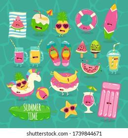 beach summer set. Summer time. Vector illustration.