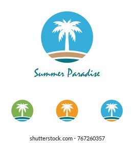 Beach and summer theme logo with palm three design template