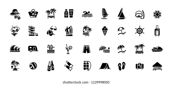 Beach, summer traveling icons set. Swimming, diving, exotic recreation vector illustration symbols set collection.